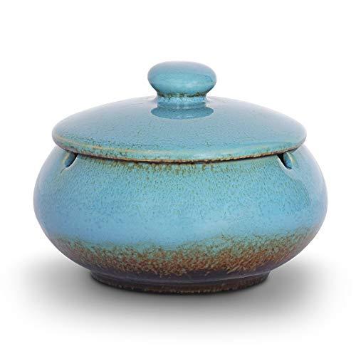 ONEDERZ Cendrier Exterieur avec Couvercle, Cendrier à Cigare en Céramique Fermé Conception Anti Odeur Marocain Style pour Deco Exterieur Jardin Terrasse