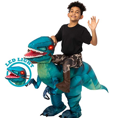 Spooktacular Creations Inflatable Halloween Costume Ride A Raptor Inflatable Costume with LED Light Eyes (Blue, Child (4-6))