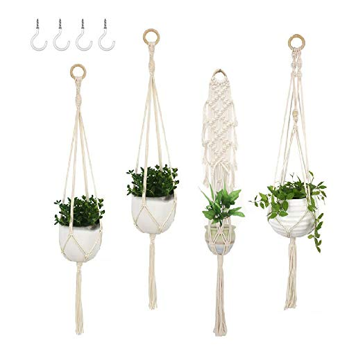 4 Pack Tassel Macrame Plant Holder Plant Holder Hanging for Indoor Outdoor Kitchen Deck Garden Porch High and Low Ceiling Plants and Succulents Boho Home Decor