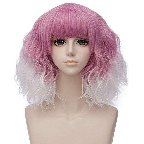 Las Mujeres Peluca Mujeres Lolita 35 CM Medio Rizado sinttico Resistente al Calor de Halloween Diario Peluca (Color : Pink White Wig, Size : 14inches)