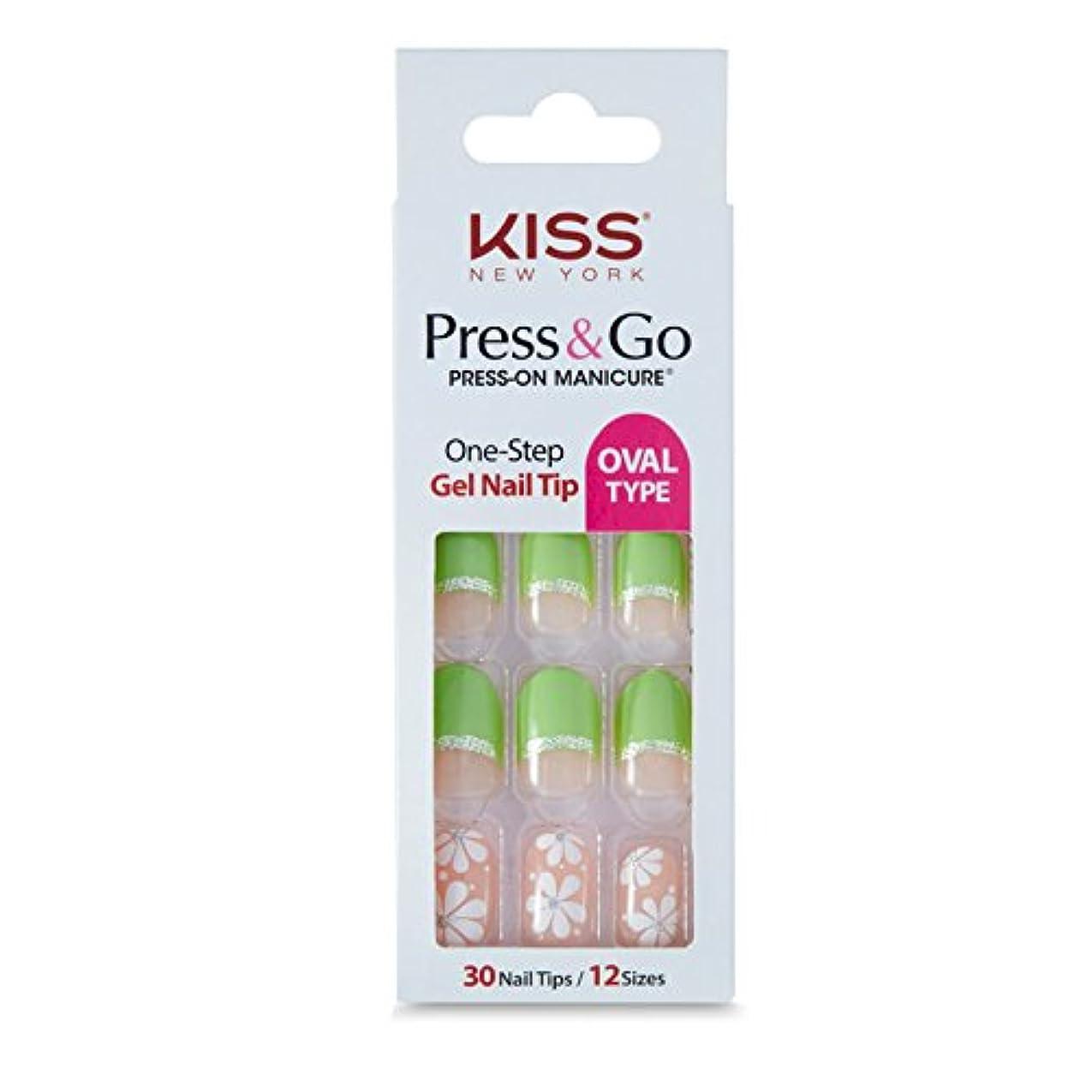 マーチャンダイザー怖い各[KISSNEWYORK]キスニューヨークプレスアンドゴーホワイトショットフレンチ(楕円形オーバルタイプ)/1秒成形ネイルPNG0102K付けるネイルPRESS&GO PRESS-ON MANICURE One-Step Gel Nail Tip/OVAL TYPE (Green Flower)