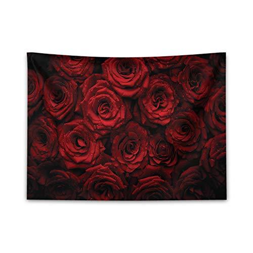 ABAKUHAUS Dunkelrot Wandteppich & Tagesdecke, Romantische Rosen Bouquet, aus Weiches Mikrofaser Stoff Dreck abweichender Digitaldruck, 150 x 110 cm, Schwarz Rot