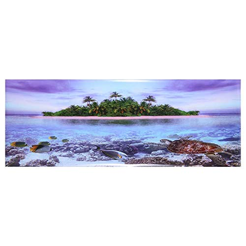 Aquarium muurschildering Aquarium decoratie Aquarium achtergrond stickers Coconut Beach poster 3D effect lijm, voor aquarium decoratie (122 * 46cm)