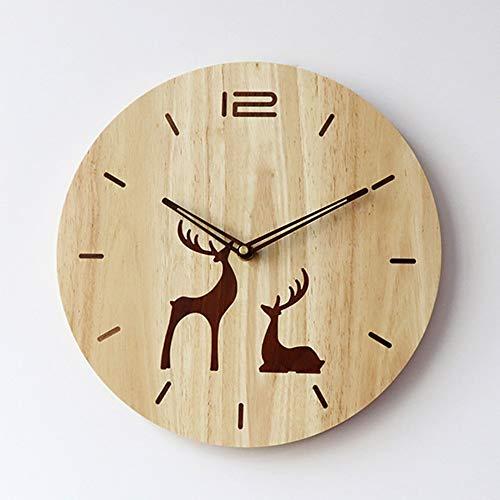 L.J.JZDY wandklok bruin moderne landelijke stijl massief hout wandklokken hit kleur zwart walnoot ingelegd stille beweging 30 * 30 (cm)