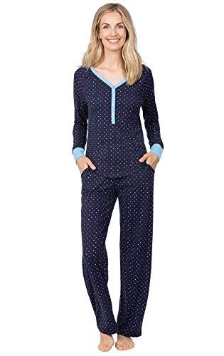 Addison Meadow Cotton Womens Sleepwear - Soft PJs for Women Set, Navy, L, 12-14