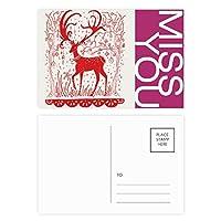 漫画の鹿の動物の赤い紙を切る ポストカードセットサンクスカード郵送側20個ミス
