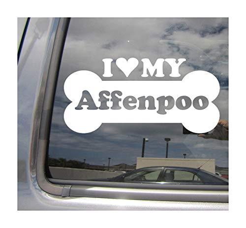 Lplpol I Heart Love My Affenpoo Dog Bone Affenpinscher Poodle Mix Hybrid Cars Trucks Casco rígido de Surfboard Skateboard Auto Automotive Craft Laptop Vinilo adhesivo de pared para ventana de tienda 6'