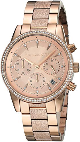 Michael Kors Women's Ritz Stainless Steel Analog-Quartz Watch with Stainless-Steel-Plated Strap, Rose Gold, 18 (Model: MK6598)