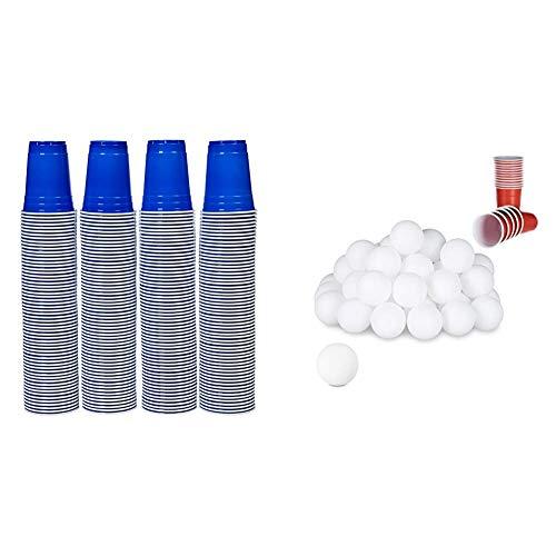 AmazonBasics - Partybecher aus Kunststoff, Einwegbecher, 473 ml, Blau & Relaxdays Beer Pong Bälle, 48 St, Tischtennisbälle, Trinkspiel, Ping Pong Bälle, ohne Aufdruck, 38 mm, Kunststoff, weiß