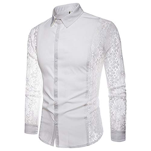 SLYZ European and American Men's Autumn Arm Full Lace Solid Color Fashion Design Men's Long-Sleeved Lapel Shirt White