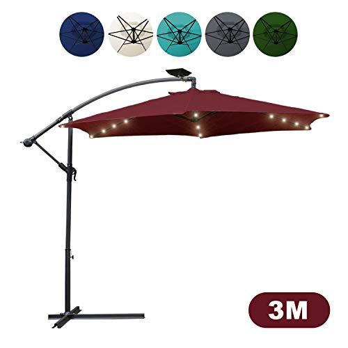 Hengda Alu Sonnenschirm UV-Schutz 40+ Ampelschirm mit 36 LEDs Beleuchtung Solar Garten Schirm Pavillon Ständer, Höhenverstellbar, Klappbar   Ø 300cm Rot mit Solar LED 