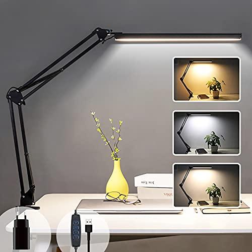 LED-Schreibtischlampe zum Aufstecken, Leseleuchte des Architekten 14 W, 3 Farben und 10 dimmbar, USB-Tischlampe mit Augenschutz, faltbare Nachttischlampe für Kinder, Schwarz