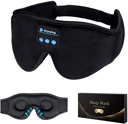 Sleep Headphones,3D Sleep Mask Bluetooth 5.0 Wireless Music Eye Mask, LC-dolida Sleeping Headphones for Side Sleepers with Ultra-Thin Stereo Speakers Perfect for Sleeping