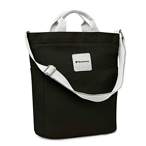 Canvas Tote Bag With Zipper And Pockets Casual Crossbody School Planner Hobo Bags For Women,Black