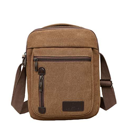 Vohoney Herren-Schultertaschen Umhängetasche Herrentasche Klein Crossbody Bag Handtasche Tasche Umhängen Messenger Bag Handgelenktasche Canvas Vintage Shoulder Bag(Braun Canvas Umhängetasche)