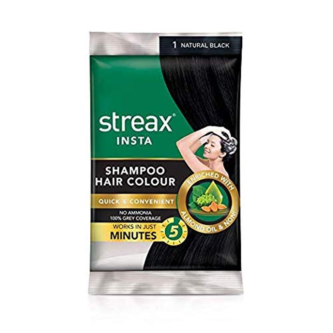 スパイラル有用波Omg-deal Pack of 10 Streax Shampoo Hair Colour Natural Black