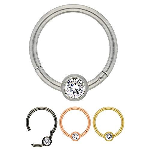 Treuheld® Silberner Segmentring-Clicker Piercing mit Kristall | Größe: 0.8 x 8 mm (Kugel: 3mm)