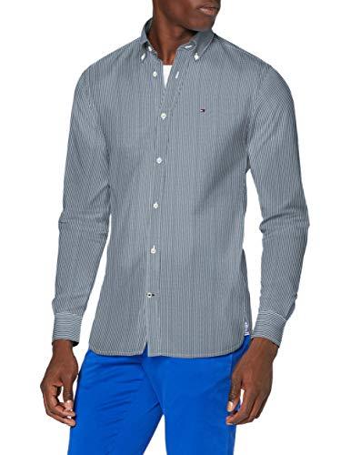 Tommy Hilfiger Herren Peached Soft Stripe Shirt Hemd, Lakeside/White, L