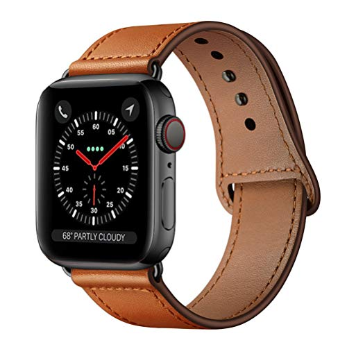 KYISGOS Compatible with iWatch Band 44mm 42mm, Genuine Leather Replacement Band Strap Compatible with Apple Watch Series 5 4 3 2 1 42mm 44mm, Brown Band with Black Adapter