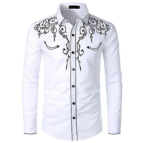 N\W Camicia da uomo elegante da cowboy occidentale ricamato Slim Fit casual camicia manica lunga Mens camicia festa di nozze, bianco, XXL