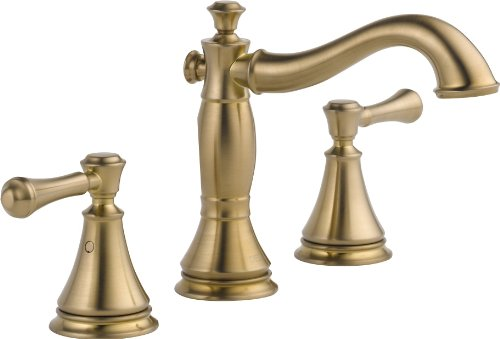 Delta Faucet Cassidy Widespread Bathroom Faucet 3 Hole, Gold Bathroom Faucet, Bathroom Sink Faucet, Metal Drain Assembly, Champagne Bronze 3597LF-CZMPU