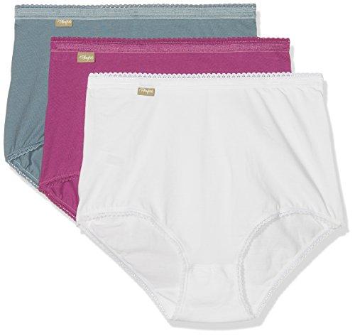 Playtex Coton-Culotte Maxi 2+1 Gratuit Bikini, Multicolore (Bianco/Blu Jeans/Viola Orchidea), 46 (Pacco da 3) Donna