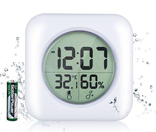 Lxszrph orologio da bagno impermeabile doccia orologio digitale da parete, ventosa, da tavolo, ora, temperatura e umidità display