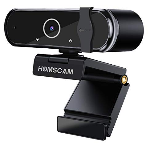 HOMSCAM Webcam 1080P Full HD con Autofocus, Microfono Stereo per Videochiamate, Studi, Registrazione e Giochi Compatibile con Windows, Mac e Android