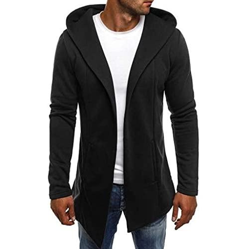 Men's Jacket, Fashion Splicing Hoodie Autumn Winter Slim Fit Long Sleeve Long Cardigan Hooded Coat Black