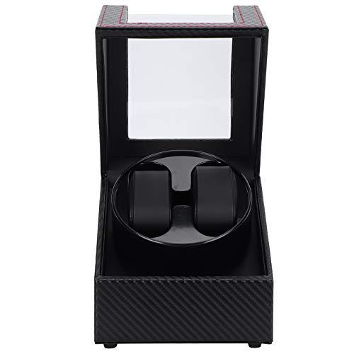 Enrollador de reloj automático para un solo 2 Reloj mecánico automático Motor súper silencioso Pantalla Caja de almacenamiento Conexión USB Estilo de fibra de carbono Ajuste de almohada de felpa flexi