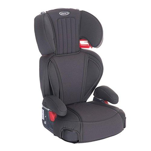 Graco Logico LX Auto-Kindersitz 15-36 kg, Kindersitz Gruppe 2/3, ab 4 bis 12 Jahren, mitwachsend, weiche Polsterung, Autositz mit intuitiver Gurtführung, ohne Isofix, Getränkehalter, Midnight Grey