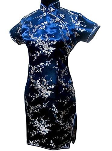 CIDCIJN Vestito Cinese - Lady Vintage Dragon&Phoenix Short Qipao Elegante Donna Cheongsam Mandarin Collar Sexy Mini Abito Cinese, Navy Blue, L