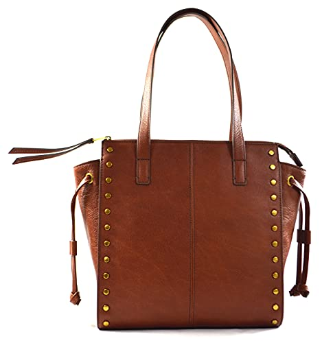 """made of leather classic and vintage style exterior 1 back slip pocket, interior 1 zip pocket and 2 slip pockets zip top closure 12.5""""L x 11.5""""H x 4.5""""D"""