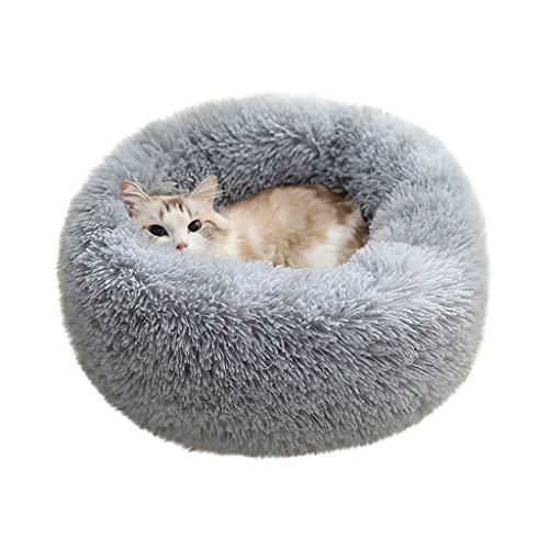 Masrin Hund Runde Katze Winter Warmer Schlafsack Langes Plüsch Weiches Haustierbett Beruhigendes Bett (Grau)