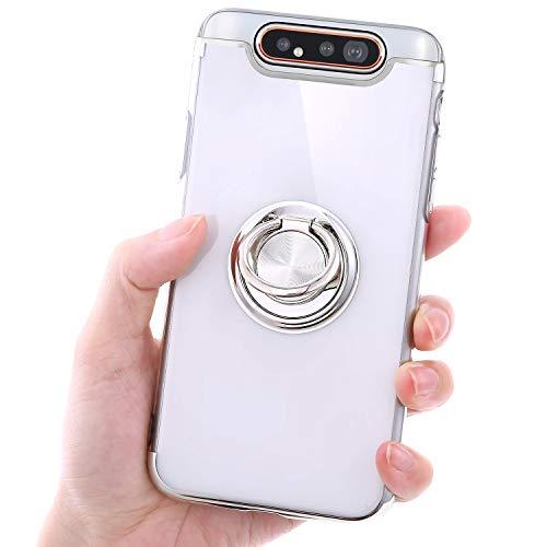 Urhause Coque pour Samsung Galaxy A80 Coque Support de Bague Placage Transparent Souple TPU Silicone Case Cover Cristal Clair Bumper Housse Étui de Protection pour Samsung Galaxy A80,Argent
