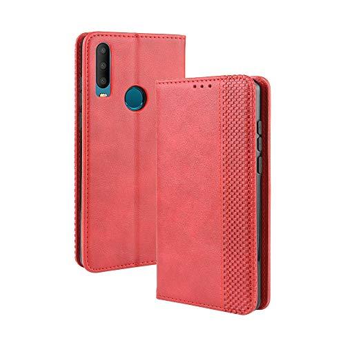 LAGUI Kompatible für Alcatel 3X 2019 Hülle, Leder Flip Hülle Schutzhülle für Handy mit Kartenfach Stand & Magnet Funktion als Brieftasche, rot