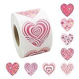 Wopohy Pegatinas en forma de corazón, 500 unidades/rollo, día de San Valentín, pegatinas autoadhesivas con forma de corazón, rollo para manualidades, bolsas de embalaje, material de embalaje