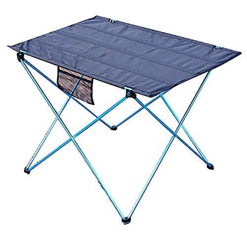 KAIBINY Mesa Plegable Mesa de jardín Barbacoa acampa Portable de Mesa Plegable de Camping al Aire Libre de aleación de Aluminio Plegable Mesa Azul