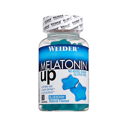 JOE WEIDER VICTORY Melatonine Up, 60 gummies, Sabor Blueberry, 1 mg de melatonina por gominola, Sin gluten y sin azúcar