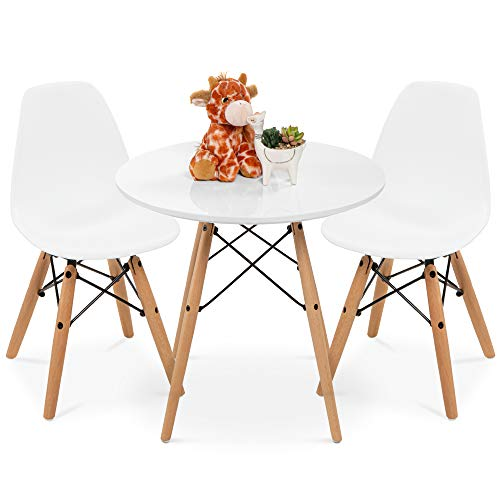 Best Choice Products Kids Mid-Century Modern Dining Room Round Table Set w/ 2 Armless Wood Leg Chairs - White
