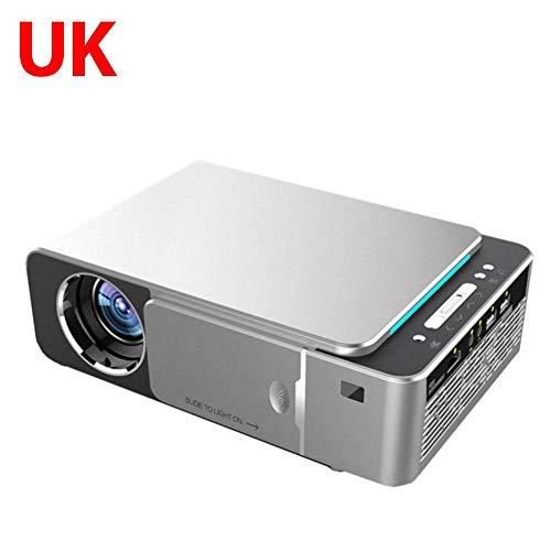 Yummyfood T6 3500 lúmenes HD Proyector LED 4K 3D 1080P Home Cinema Beamer Android 9.0 WIFI misma versión de video proyector con IR USB AV VGA HDMI puerto de tarjeta SD, 25 x 17 x 8 cm, Plateado, UK