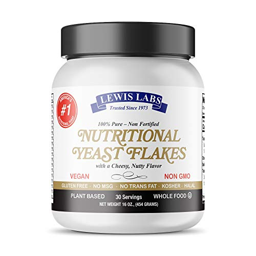 Lewis Labs Nutritional Yeast Flakes | Pure, Non-Fortified, Bioavailable Mini Yeast Flakes Is An Excellent Gluten Free Vegan Plant Based Protein & Vitamin B Complex With 18 Amino Acids | 16 Ounces