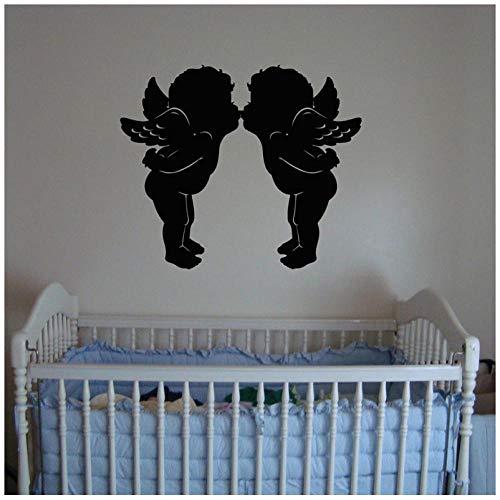 Hanzeze Mooie engel kus muur decal babykamer kleuterschool decoratie interieur schattig 57x67 cm