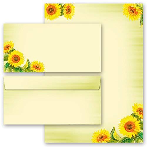 Briefpapier Set, 20 tlg. Blumen & Blüten, SUNFLOWERS 10 Blatt Briefpapier + 10 passende Briefumschläge DIN LANG ohne Fenster | Paper-Media
