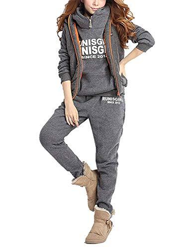 BUOYDM 3piezas Chándales para Mujer Conjuntos Deportivos Hoodie Sweatshirt con Capucha + Chaleco Chaqueta + Pantalones para Otoño e Invierno, Gris 2XL