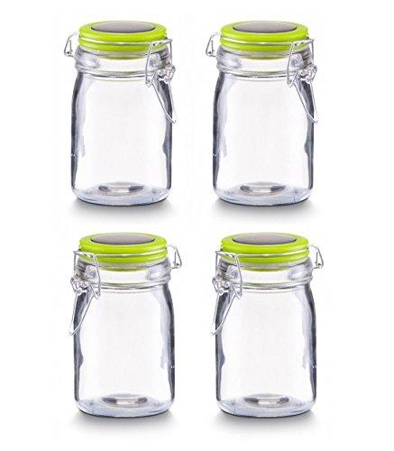 4 Gewürzgläser Zeller Vorratsgläser mit Bügelverschluss in 60 ml / 140 ml / 250 ml | 4 Farben wählbar (250ml, grün)