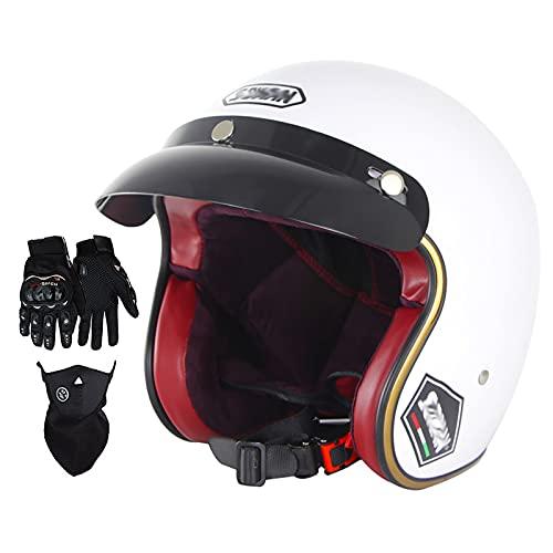 Medio Casco De Motocicleta Retro, con Guantes De Visera Protector Facial Protección Auditiva Desmontable Piloto De Seguridad Transpirable 4/3 Conjunto De Casco Certificación Dot ⭐