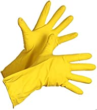 Twenoz Rubber Hand Gloves Reusable Washing Cleaning Kitchen, Garden (Colour May Vary) (Pair 1)