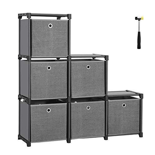SONGMICS Steckregal 6 Würfel Aufbewahrungssystem mit 6 Stoffboxen DIY Schrank multifunktional mit robustem Metallrahmen Gummihammer 105 x 105 x 30 (B x H x T) Schwarz LSN66BK