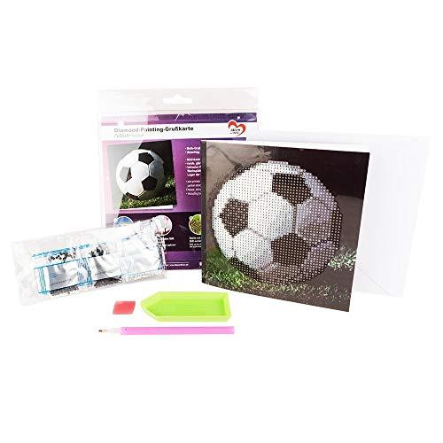 Ideen mit Herz Diamond-Painting-Grußkarte | 16 x 16 cm | 370 g/m² | inkl. Umschlag & Werkzeug (Fußball)